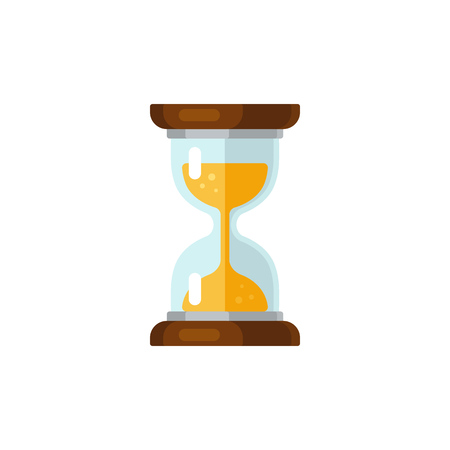 turn on: Hourglass time icon in flat vector style. Isolated on white background.