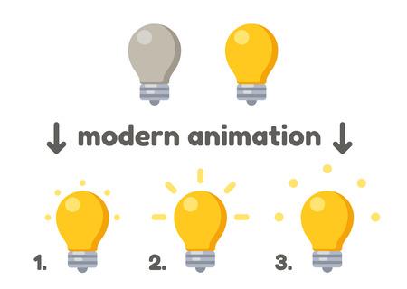 Bombilla icono encender cuadros de animación. Vector del estilo moderno. Ilustración de vector