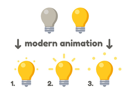 lamp power: Lightbulb icon turning on animation frames. Modern vector style.