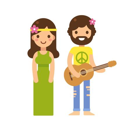 pies descalzos: Linda pareja hippie, mujer en vestido largo y el hombre con la guitarra, con flores en el pelo. Estilo de dibujos animados de vectores plana moderna.