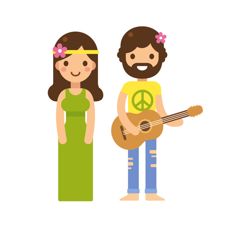 Cute hippie couple, woman in long dress and man with guitar, with flowers in hair. Modern flat vector cartoon style.