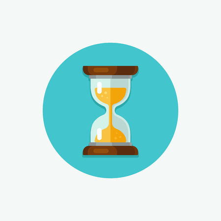 Hourglass icon in circle. Simple flat vector style.