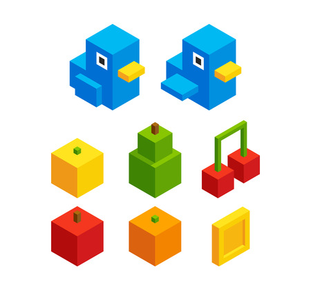 8 bit: Isometric pixel art assets for video game: bird character and bonus objects: fruits and coins. Cute 8 bit style. Bird has two animation frames.