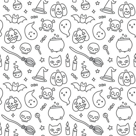 jack pot: Halloween hand drawn doodle seamless pattern with cute cartoon objects and symbols.