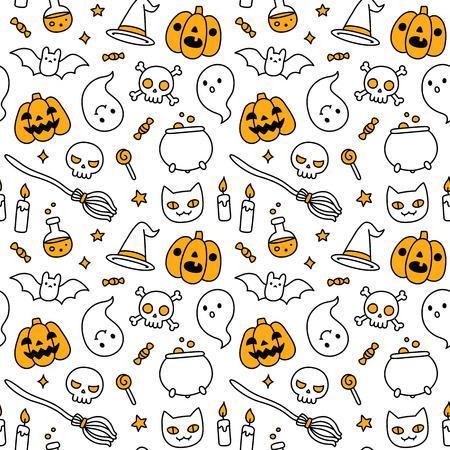 jack pot: Mano de Halloween dibujado doodle de patr�n transparente con objetos animados lindo y s�mbolos.