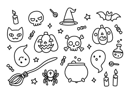 magic potion: Halloween hand drawn doodle set with cute cartoon objects and symbols isolated on white background.