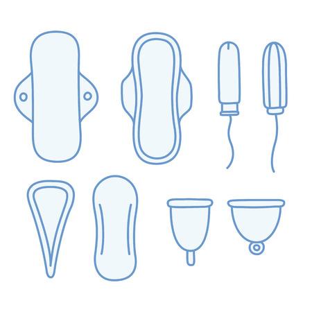 手描き女性用衛生用品のセットです。パッドやタンポン、ゴワッと月経カップ。
