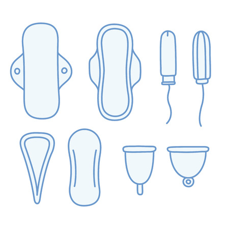 cartoon toilet: Set of hand drawn feminine hygiene products. Pads and tampons, pantyliners and menstrual cups.