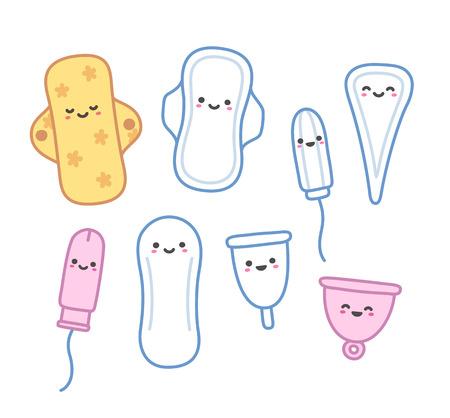 Ensemble de produits d'hygiène féminine dessinés à la main avec les visages mignons. Serviettes et tampons, protège-slips et les coupes menstruelles dans un style adorable de bande dessinée.