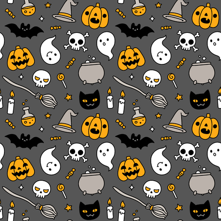 Halloween hand drawn doodle seamless pattern with cute cartoon objects and symbols.