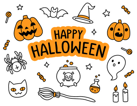 cute wallpaper: Halloween hand drawn doodle set with Happy Halloween text banner and cute cartoon objects and symbols. Illustration