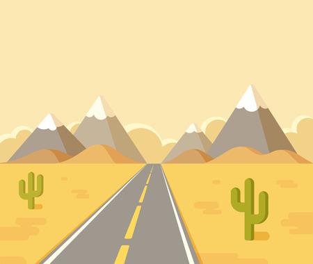 hill distant: Highway through desert with mountains on horizon. Flat vector cartoon illustration.