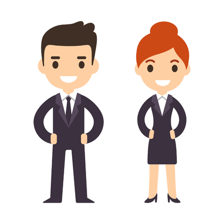 かわいい漫画ビジネス人々、男性と女性、白い背景で隔離。モダンなフラット ベクトル スタイル。