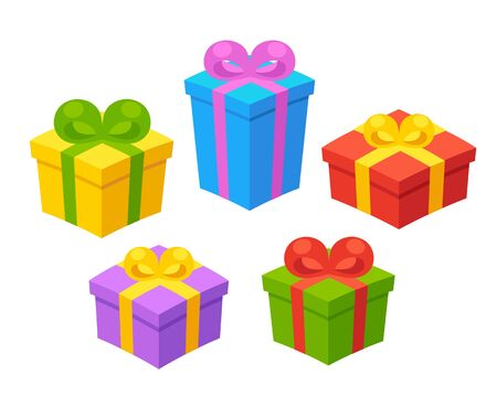 wrap wrapped: Set of colorful gift boxes with ribbons. Isolated vector illustration.