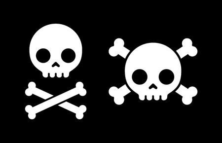 Cráneo de dibujos animados simple y bandera pirata iconos, dos variantes de diseño. Foto de archivo - 45339527