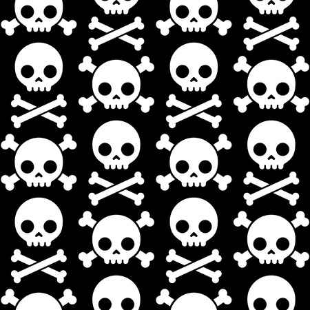 Skull and crossbones seamless pattern. Scary Halloween background. Illustration