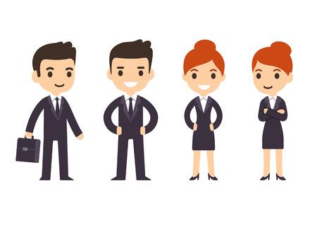 젊은 비즈니스 사람들이, 가방 소송에서 만화 스타일의 남자와 여자. 흰색 배경에 고립입니다.