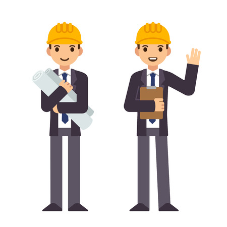 engineers: Young engineer in two poses, holding construction blueprints and waving and smiling. Modern flat style, cute cartoon vector illustration. Illustration
