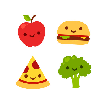 Cute cartoon icons with smiling faces: apple, broccoli, burger and pizza. Fast food and healthy food vector illustration.