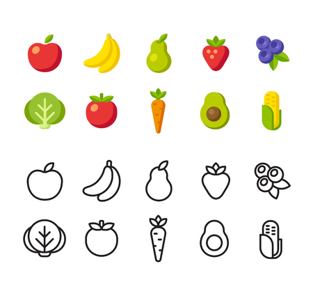 Fruit and vegetable icon set. Two options, colorful flat vector style and line icons. Çizim