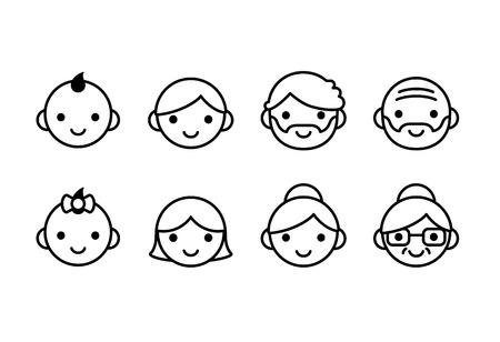 simbolo uomo donna: Icone persone età, maschi e femmine, dai giovani agli anziani. Set riga con carino e semplice. Vettoriali