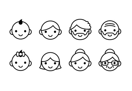 beard woman: People ages icons, male and female, from young to old. Cute and simple line con set.