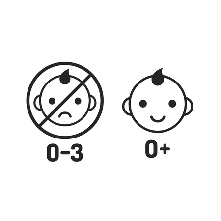 two child: Child icon set, age warning labels. All ages and not suitable for young kids. Two line icons, simple modern style.
