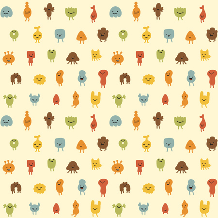 monster face: Seamless pattern of cute little cartoon monsters with different shapes, colors and facial expressions. Illustration