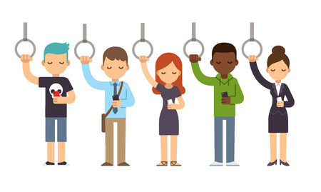 woman smartphone: Diverse people on subway commute looking at smartphones. Vector illustration in simple flat style.
