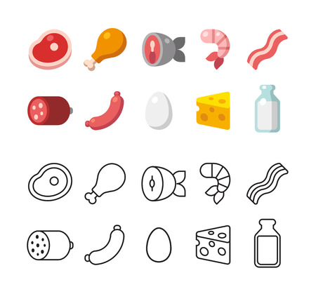 meat food: Set of meat and dairy food icons. Two options, colorful flat vector style and line icons.