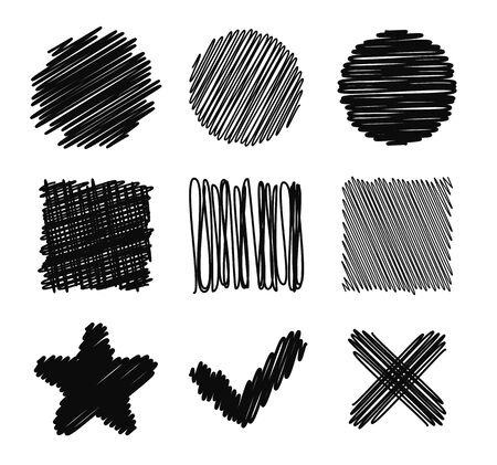 basic shapes: Set of hand drawn scribble design elements. Basic shapes, checkmark and cross. Vector doodles.