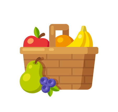 gift basket: Bright cartoon fruit basket icon (apple, orange, bananas, pear and blueberry). Flat vector illustration.