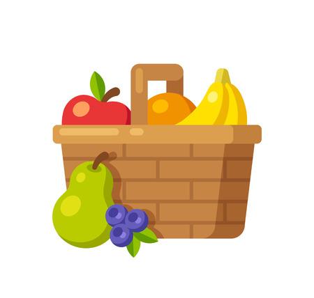 canastas de frutas: Brillante icono de la cesta de fruta de dibujos animados (manzana, naranja, plátano, pera y arándano). Ilustración vectorial Flat.