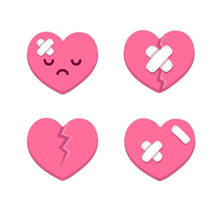 cara triste: Conjunto de dibujos animados roto corazones con las grietas y las vendas. Ilustraci�n del vector.