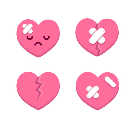 sad: Set of cartoon broken hearts with cracks and bandages. Vector illustration.