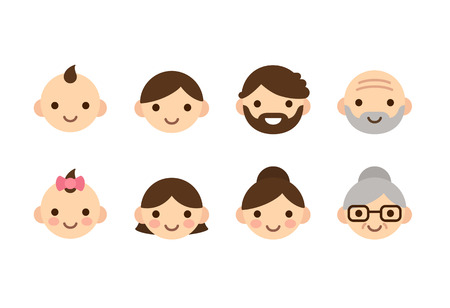 beard woman: People ages icons, male and female, from young to old. Cute and simple flat con set.