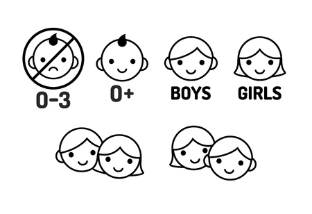 nude girl young: Children icon set: age warning labels (not suitable for young kids) and gender signs. Line icons, simple modern style. Illustration