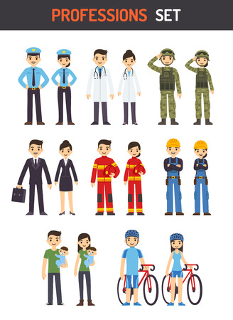 occupations: Set of men and women of different professions: policeman, fireman, doctor, soldier, construction worker, businessman, athlete and stay at home parent. Cute cartoon vector illustration.