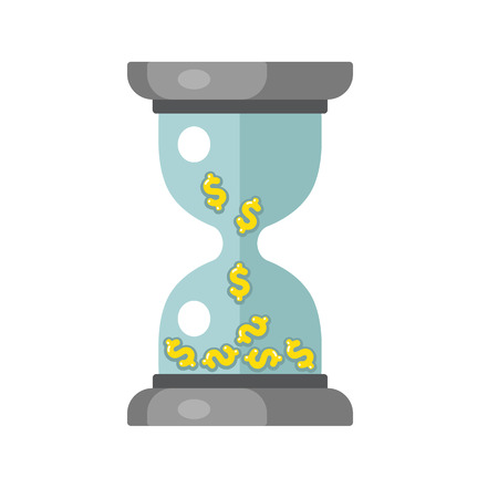 falling money: Time is money concept. Hourglass with falling money symbols. Vector illustration.