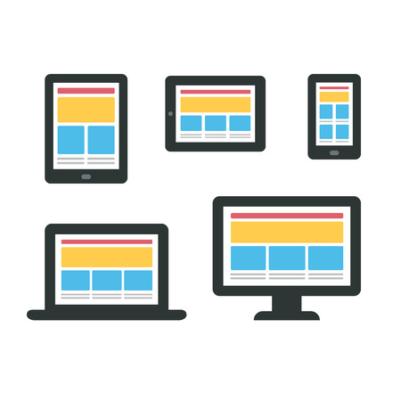 Set of electronic devices (smartphone, tablet, ebook, laptop and desktop computer) with responsive web design content layouts. Minimalistic vector illustration.