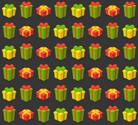 wrap wrapped: Seamless pattern of bright gift boxes on dark background. Vector illustration.