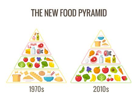 음식: 건강한 다이어트 infographics입니다. 클래식 음식 피라미드 차트와 현대 영양 조언. 벡터 일러스트 레이 션.