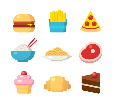 cafe food: Restaurant and cafe food icons, different cuisines. Fast food, meals and desserts. Bright cartoon vector illustration. Illustration