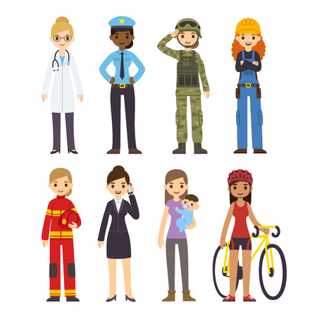 role: Set of diverse women of different professions: policeman, fireman, doctor, soldier, construction worker, businessman, athlete and stay at home mom. Cute cartoon vector illustration.