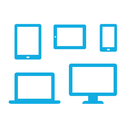icon phone: Set of electronic device icons: smartphone, tablet, ebook, laptop and desktop computer. Minimalistic vector illustration.