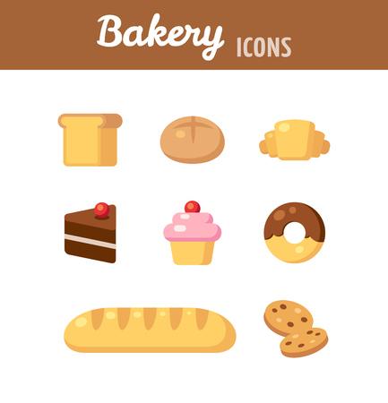 パン屋さんのアイコンを設定します。パン、デザート、様々 な焼き菓子です。フラットな漫画のスタイルのベクトル図。