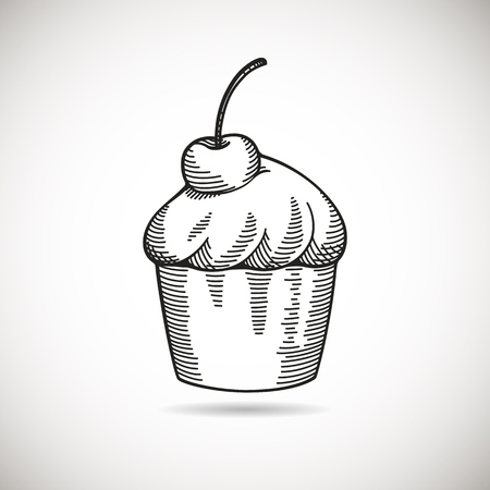 cross hatching: Hand drawn vintage cupcake sketch with cherry. Illustration isolated on white with subtle shadow. Illustration