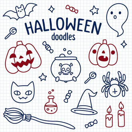 brujas caricatura: Establece doodle de Halloween. Objetos lindos de la historieta y s�mbolos dibujados con l�piz sobre papel de cuaderno rayado. Ilustraci�n del vector.
