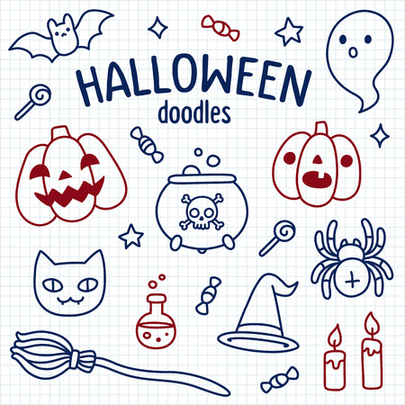 spider cartoon: Halloween doodle set. Cute cartoon objects and symbols drawn with pen on lined notebook paper. Vector illustration.