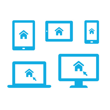 electronic tablet: Homepage website icon on different electronic devices: smartphone, tablet, ebook, laptop and desktop computer. Modern vector icons. Illustration